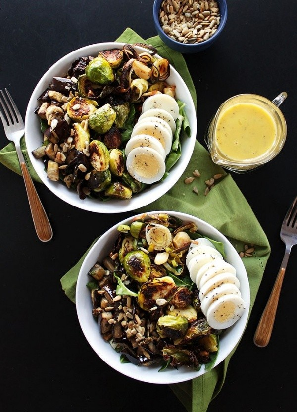 Brussels Sprouts Eggplant Buddha Bowl
