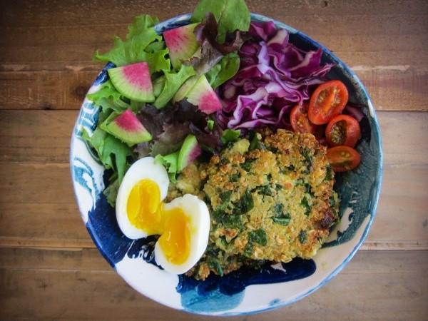 Spinach Quinoa Patty Bowl